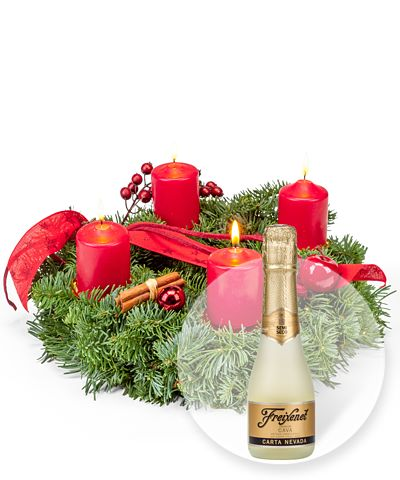 Adventskranz Advent, Advent und Freixenet Semi Seco